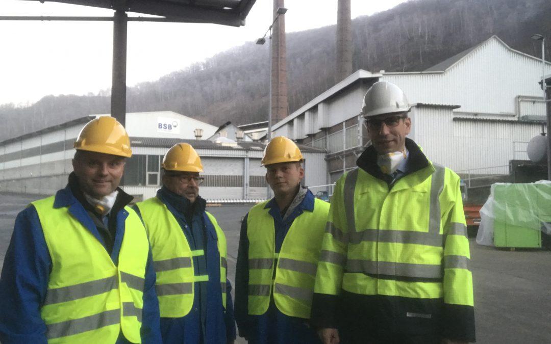 Bürgermeisterkandidat Mike Weiland zu Gast bei der BSB Recycling GmbH in Braubach