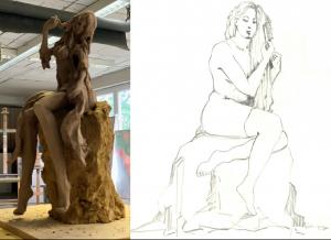 Rechts die Bleistiftskizze der in Kaub lebenden Künstlerin Kirsten Herold, links die Tonfigur von Künstlerin Jutta Reiss aus Dörnberg.